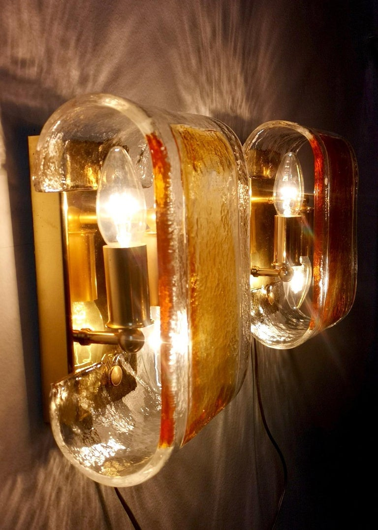 Pair of Orange and Clear Murano Glass Wall Lights by La Murrina, Italy, 1980s For Sale 1