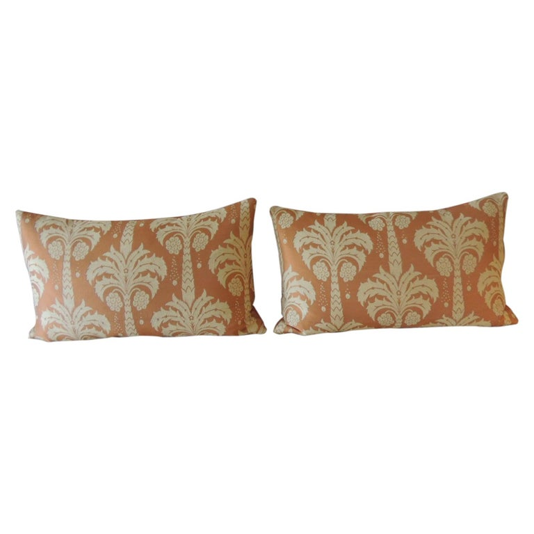 """Pair of Orange and Natural """"Palms"""" Silk Decorative Pillows For Sale"""