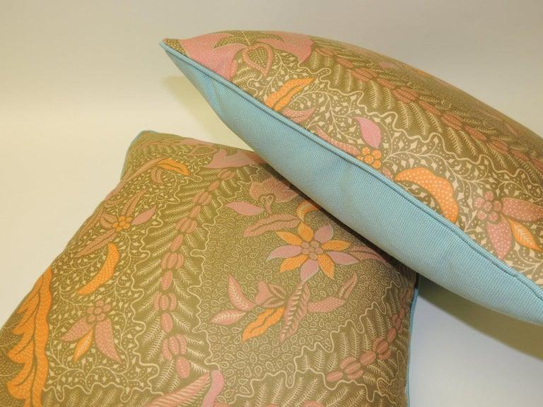 Tribal Pair of Orange and Yellow Paisley Asian Batik Printed Decorative Pillows For Sale