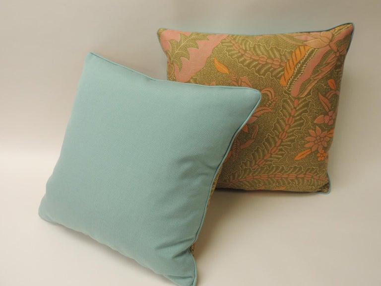 Indonesian Pair of Orange and Yellow Paisley Asian Batik Printed Decorative Pillows For Sale