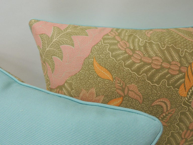 Hand-Crafted Pair of Orange and Yellow Paisley Asian Batik Printed Decorative Pillows For Sale