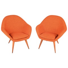Pair of Orange Beech Restored Czech Midcentury Armchairs, 1950s