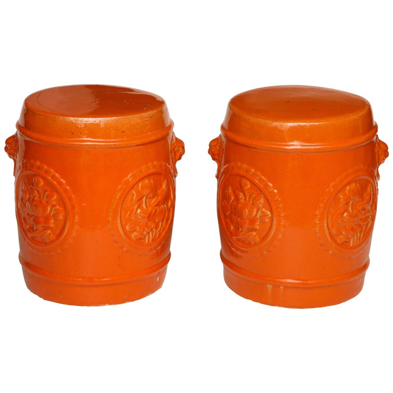 Pair of Orange Ceramic Garden Stools For Sale