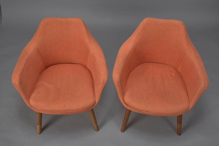 Danish Pair of Orange Fabric Mid-Century Modern Armchairs in Style of Eero Saarinen For Sale