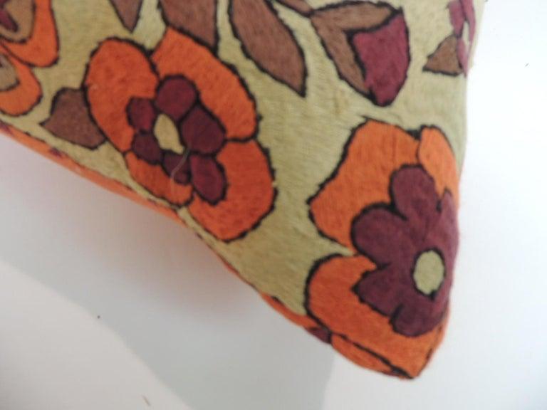 Uzbek Pair of Orange Floral Vintage Suzani Decorative Pillows For Sale