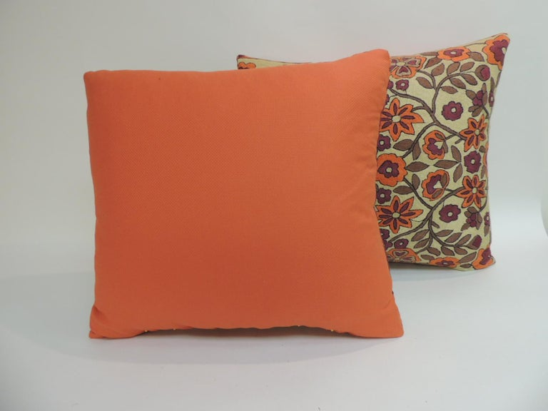 Hand-Crafted Pair of Orange Floral Vintage Suzani Decorative Pillows For Sale