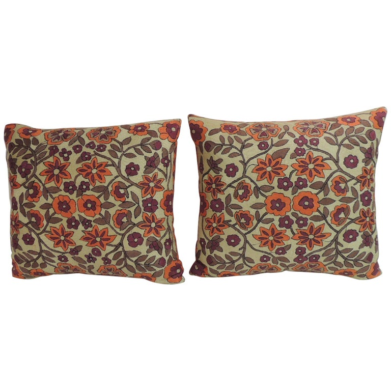 Pair of Orange Floral Vintage Suzani Decorative Pillows For Sale