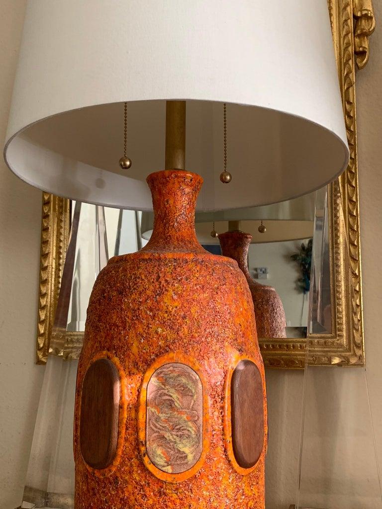 Pair of Orange Lava Glazed Ceramic Lamps For Sale 4