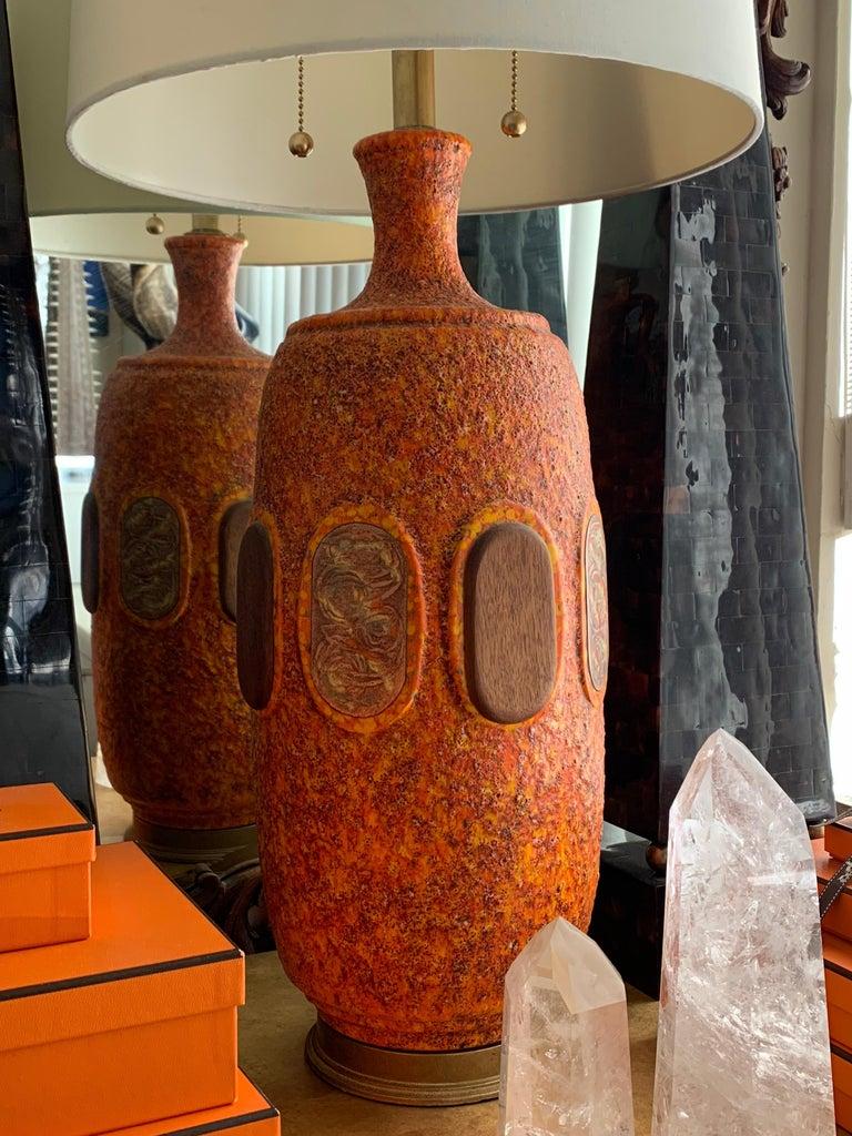 Pair of Orange Lava Glazed Ceramic Lamps For Sale 6