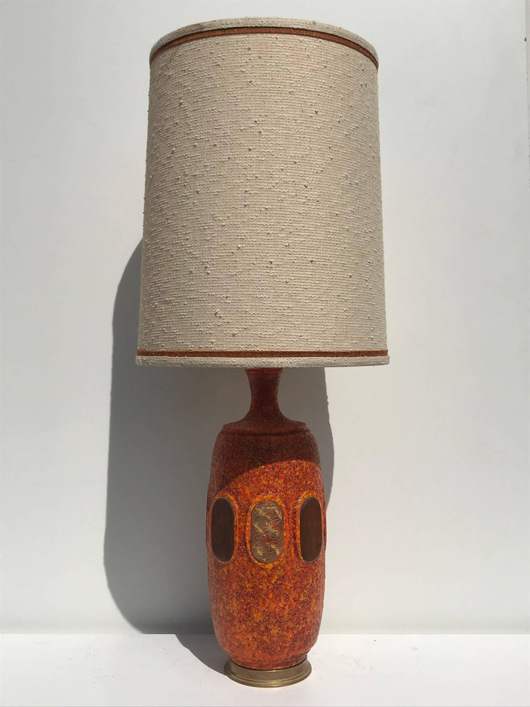 Mid-20th Century Pair of Orange Lava Glazed Ceramic Lamps For Sale