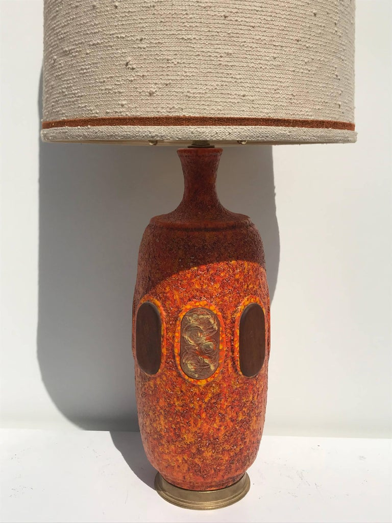 Pair of Orange Lava Glazed Ceramic Lamps For Sale 1
