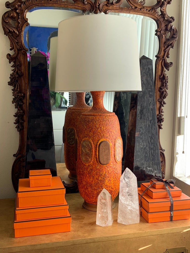 Pair of Orange Lava Glazed Ceramic Lamps For Sale 2