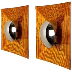 Pair of Orange Metal Glass Space Age Wall Lights, Italy, 1970s