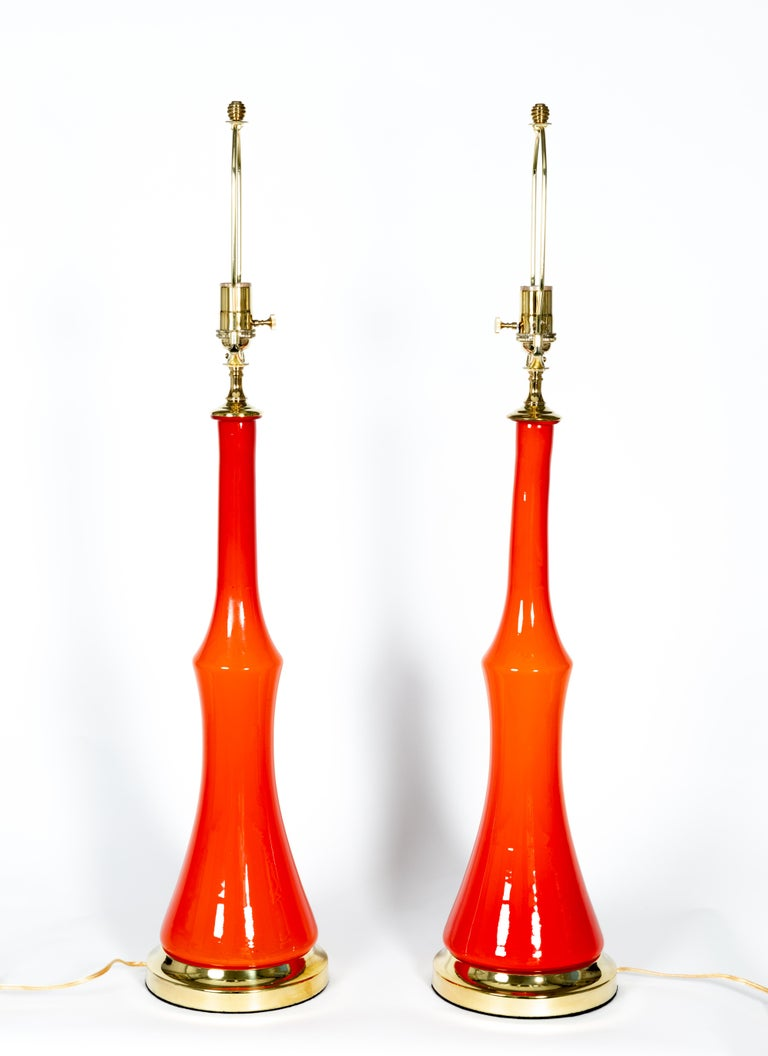 Italian Pair of Orange Murano Glass Table Lamps with Brass Detail For Sale
