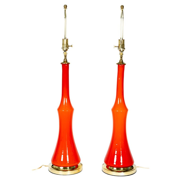 Pair of Orange Murano Glass Table Lamps with Brass Detail For Sale