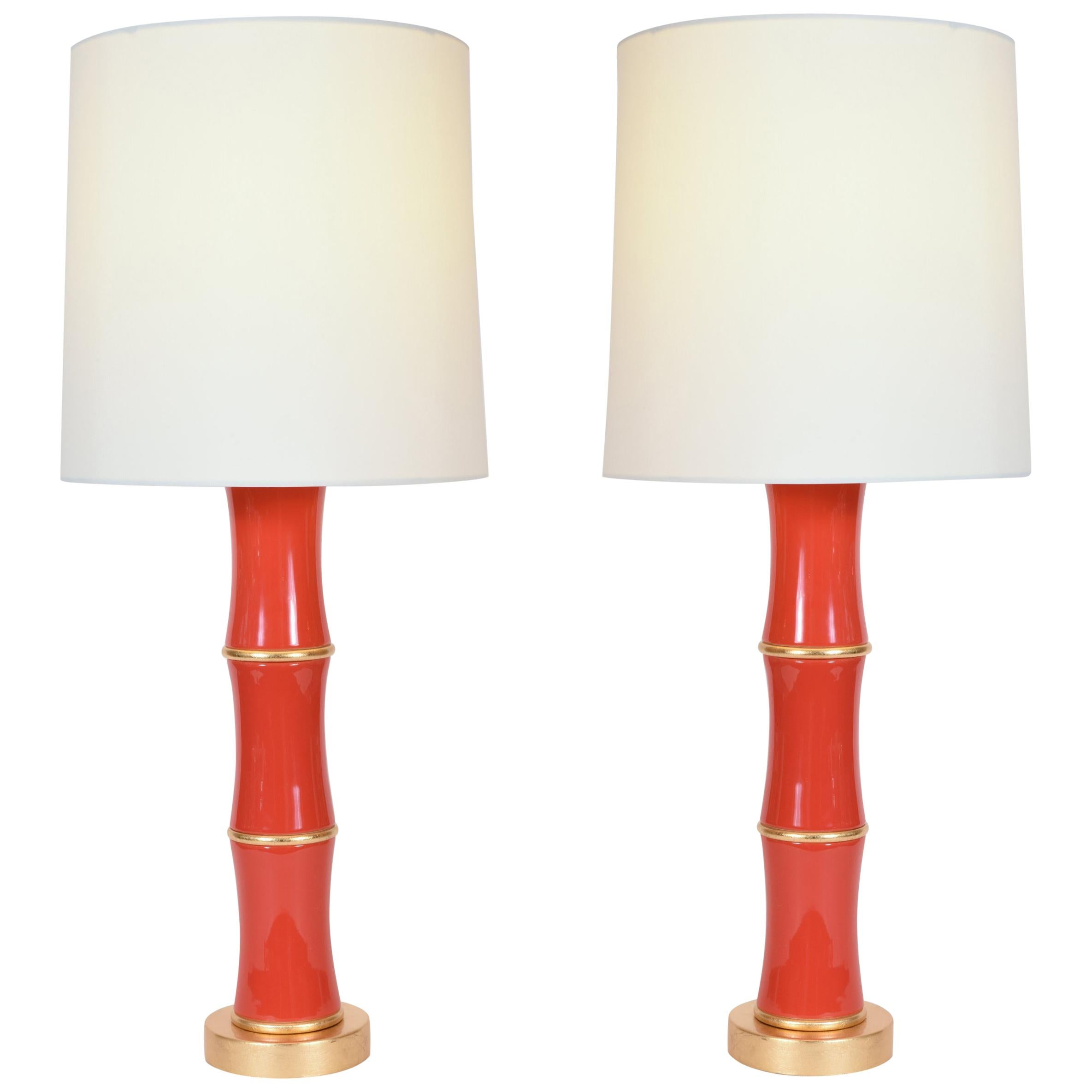 Pair of Orange Porcelain Table Lamp With Gold Wood Base