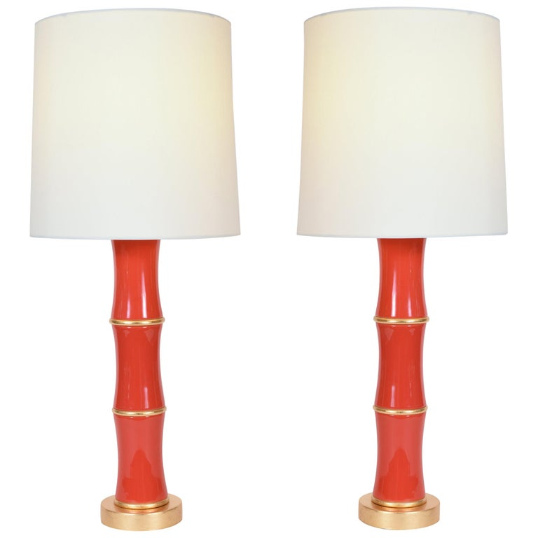 Pair Of Orange Porcelain Table Lamp With Gold Wood Base For Sale At