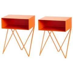 Pair of Orange Powder Coated Steel Robot Bedside Tables, Made in England
