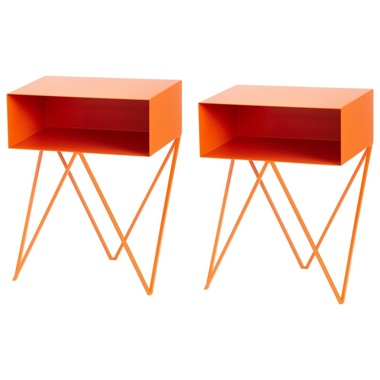 Pair of Orange Powder Coated Steel Robot Bedside Tables, Made in England For Sale