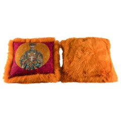 Pair of Orange Sheepskin and Exclusive Fabric Pillows