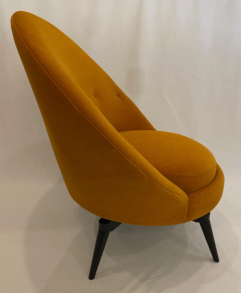 Pair of Orange Mohair Swivel Chairs For Sale 3