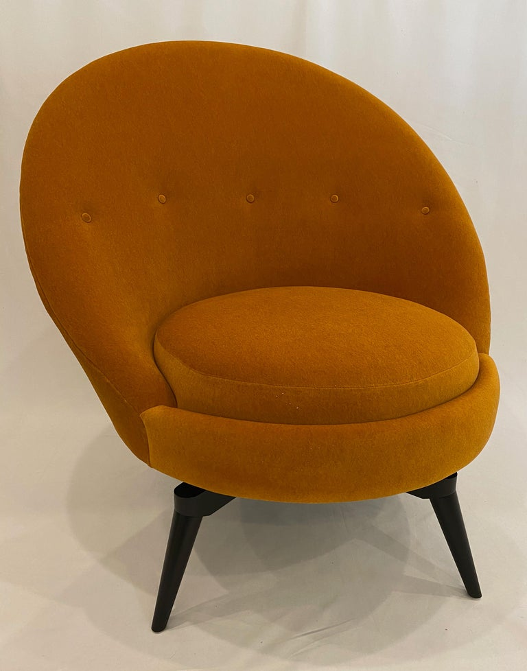 American Pair of Orange Mohair Swivel Chairs For Sale