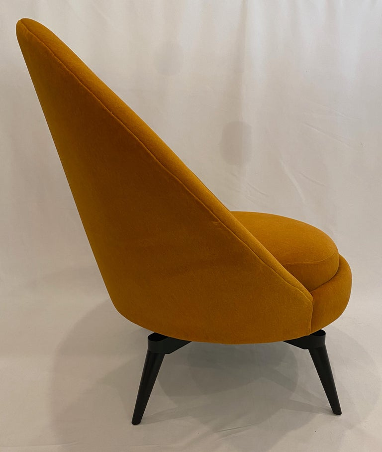 Pair of Orange Mohair Swivel Chairs In New Condition For Sale In San Leandro, CA