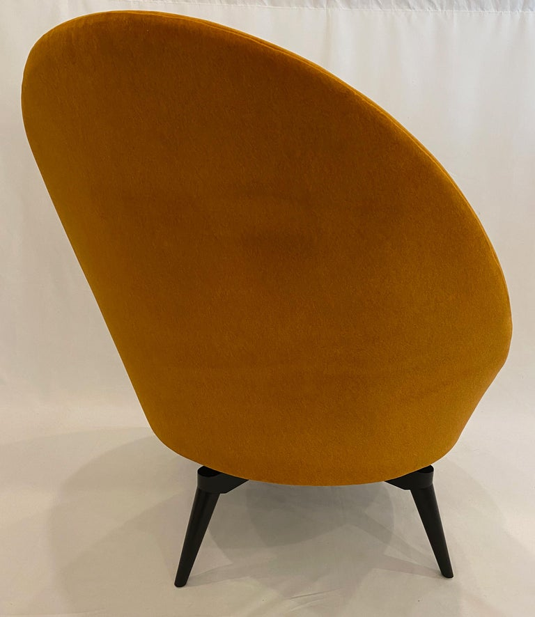 Contemporary Pair of Orange Mohair Swivel Chairs For Sale