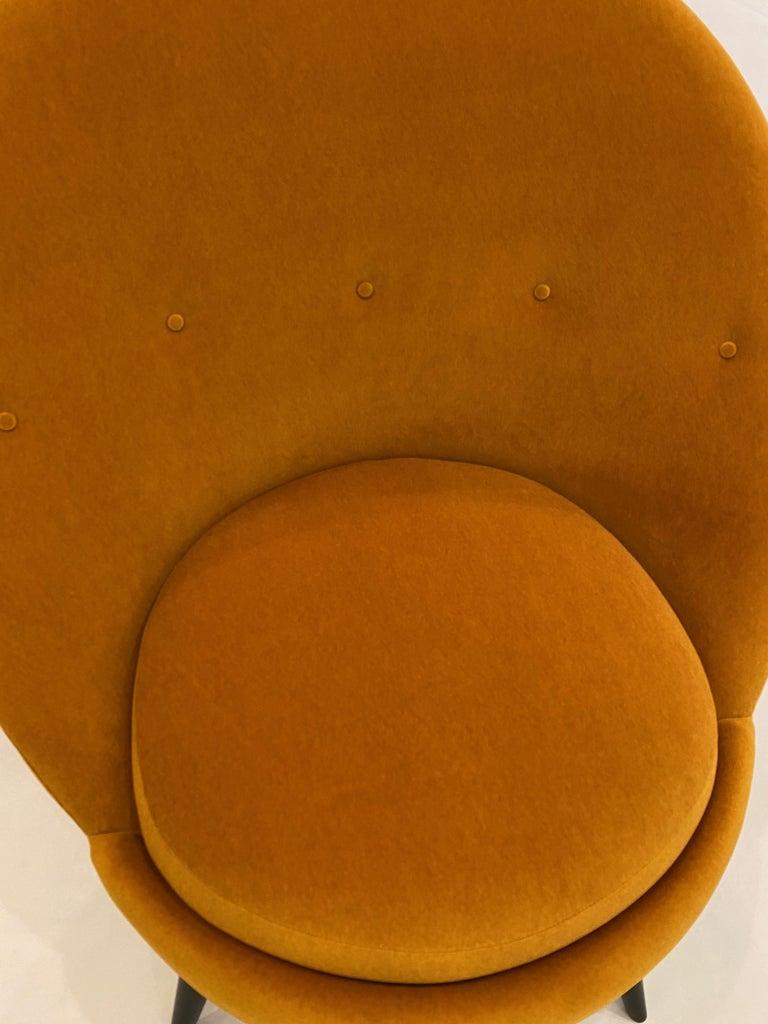 Velvet Pair of Orange Mohair Swivel Chairs For Sale