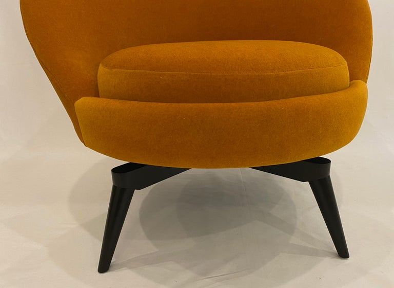 Pair of Orange Mohair Swivel Chairs For Sale 1