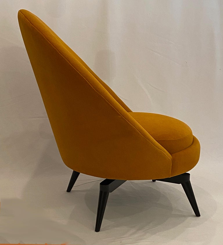 Pair of Orange Mohair Swivel Chairs For Sale 2