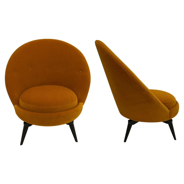 Pair of Orange Mohair Swivel Chairs For Sale