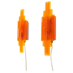 Pair of Orange Wall Lamps by Claus Bolby for Cebo Industri, 1960s