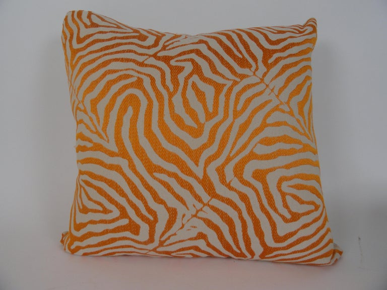 American Pair of Orange Zebra Print Pillows For Sale
