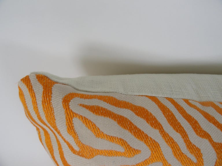 Pair of Orange Zebra Print Pillows In Excellent Condition For Sale In West Palm Beach, FL