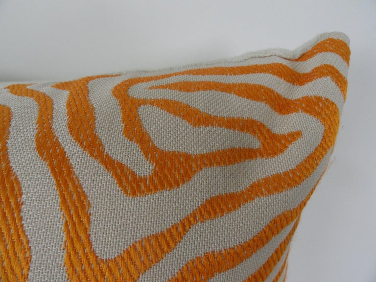 Contemporary Pair of Orange Zebra Print Pillows For Sale