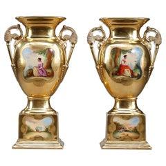 Pair of Oratory Vases in Paris Porcelain