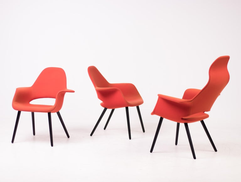 Pair of Organic Chairs by Charles Eames & Eero Saarinen For Sale 5