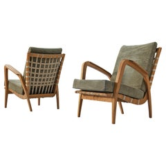 Pair of Organic Lounge Chairs in Elm and Canvas Webbing