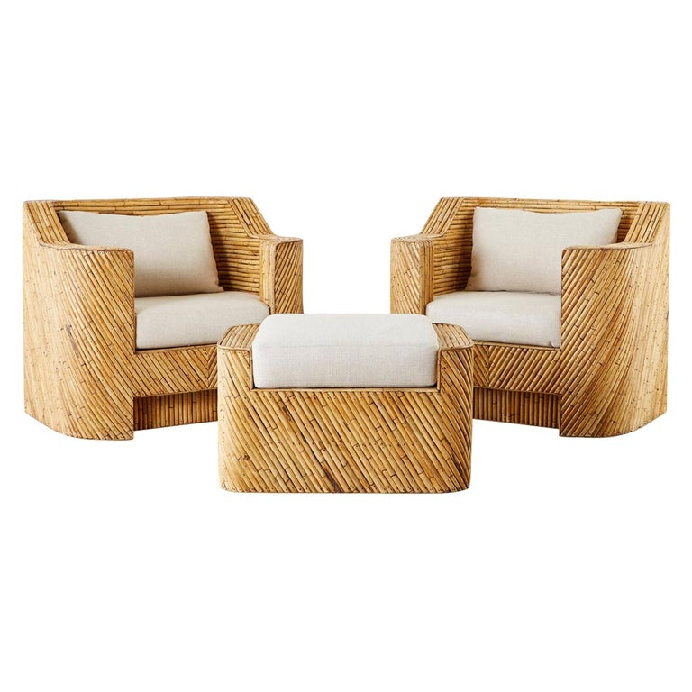 Pair of Organic Modern Bamboo Rattan Lounge Chairs and Ottoman For Sale