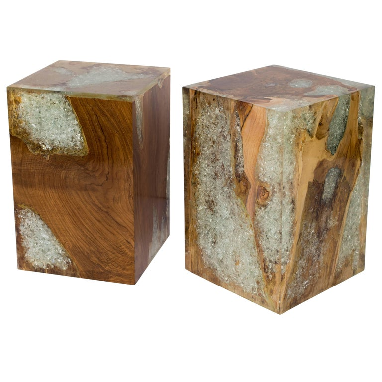 Pair of organic modern cube tables in natural and bleached teak root wood with cracked resin design. Polished finish with unique wood variations on all sides. Handcrafted and multipurpose use. Expect variation in color. Also sold separately at