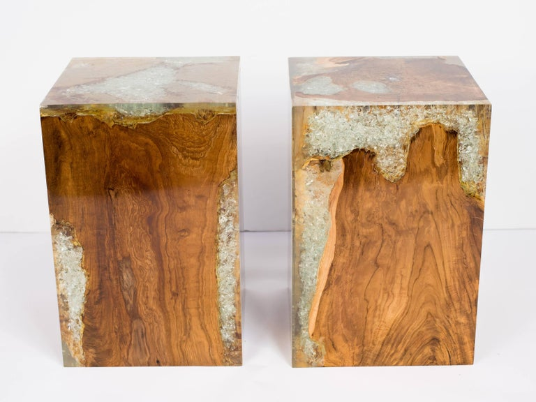 Contemporary Pair of Organic Modern Bleached Teak Wood and Resin Side Tables For Sale