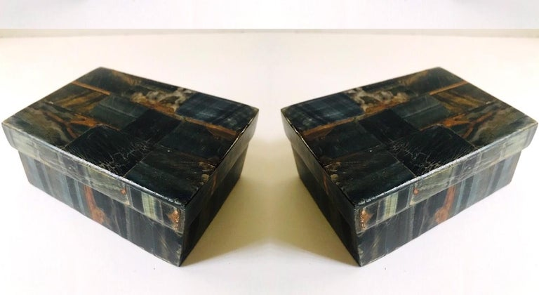 French Pair of Organic Modern Boxes in Tessellated Tiger Eye Stone by R&Y Augousti For Sale