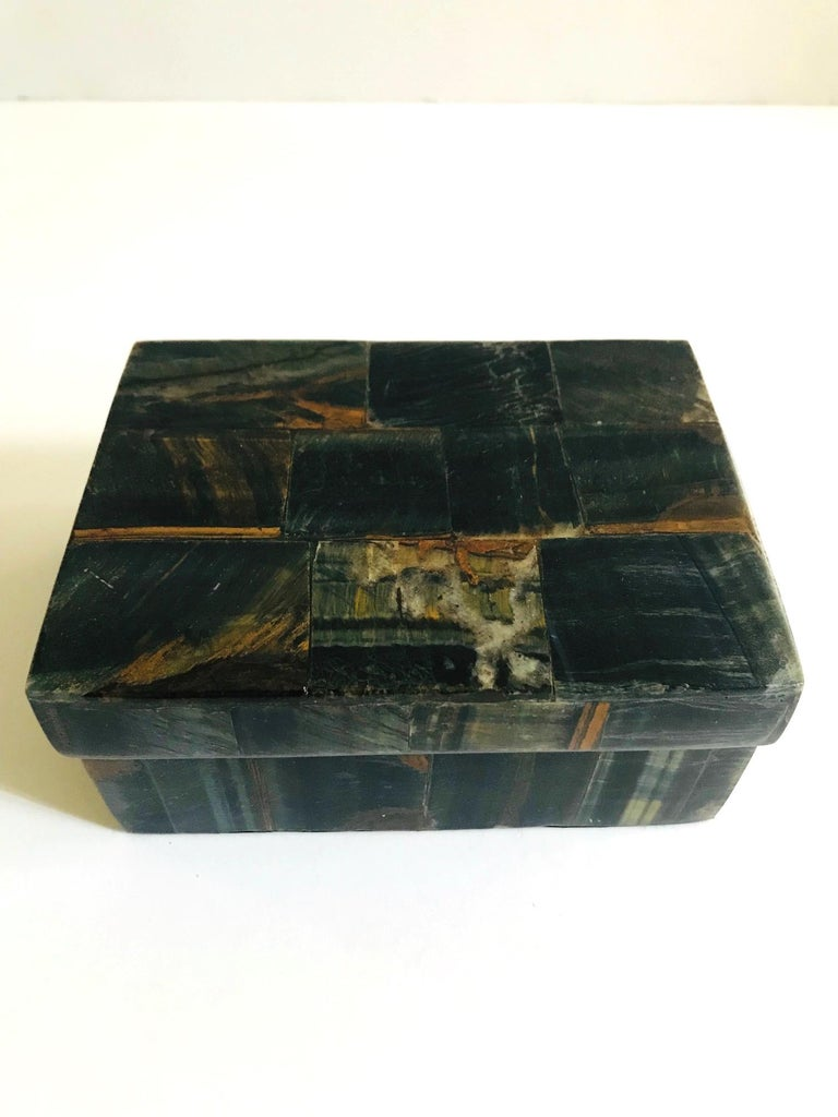 Contemporary Pair of Organic Modern Boxes in Tessellated Tiger Eye Stone by R&Y Augousti For Sale