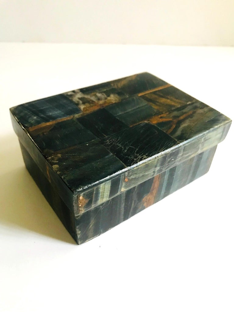 Pair of Organic Modern Boxes in Tessellated Tiger Eye Stone by R&Y Augousti For Sale 1