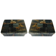 Pair of Organic Modern Boxes in Tessellated Tiger Eye Stone by R&Y Augousti