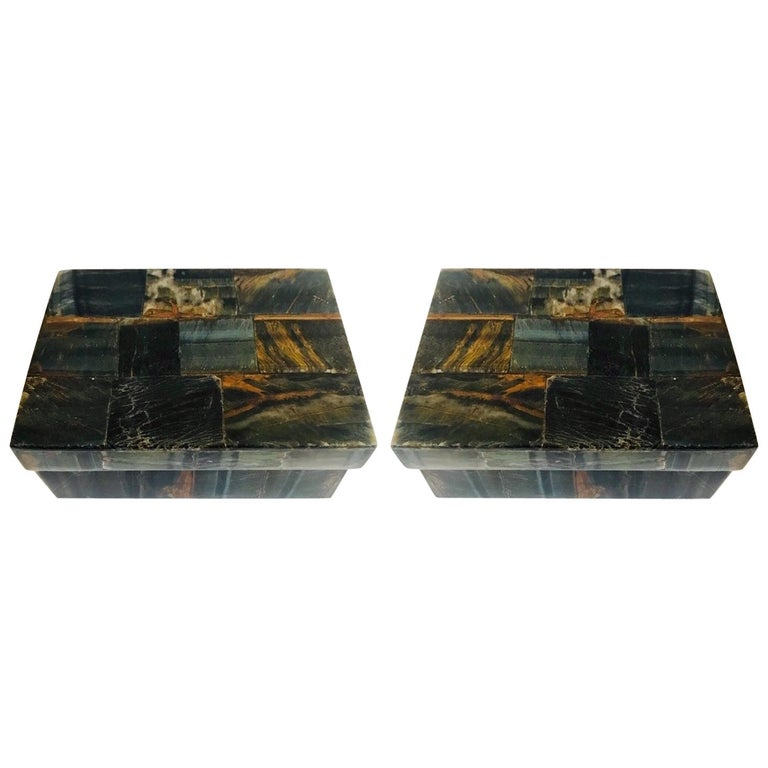 Pair of Organic Modern Boxes in Tessellated Tiger Eye Stone by R&Y Augousti For Sale