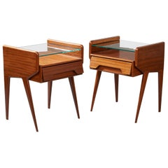 Pair of Organic Modern Mahogany & Glass Nightstands ITSO Ico Parisi, Italy 1950s