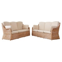 Pair of Organic Modern McGuire Style Rattan Wicker Sofas