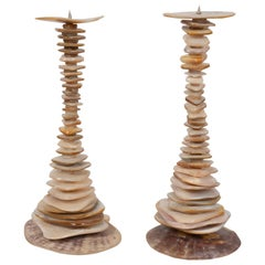 Pair of Organic Modern Stacked Hourglass Form Abalone Candlesticks